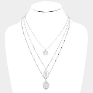 Silver Three MultiLayered Religious Pendant Chain